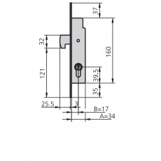 CERRADURA EMBUTIR MET HN CVL 17 MM