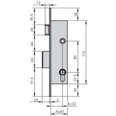 CERRADURA EMBUTIR MET HN CVL 20 MM