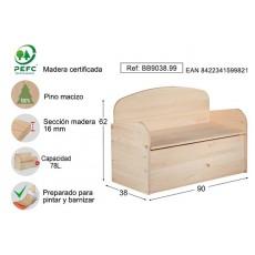 BANCO BAUL DECO PINO S/BARN ASTIGARRAGA 90X62X38CM